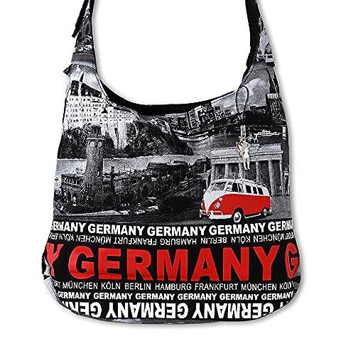 Umhängetasche Damen Hobo Bag schwarz Canvas Schultertasche Germany D4OTG204R
