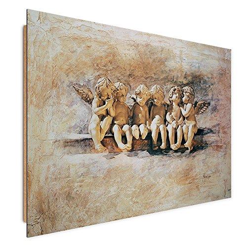Feeby ÁNGELES Impresion Digital Cuadro Deco Panel, Tamaño: 80x60 cm, RELIGIÓN VINTAGE MARRÓN