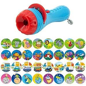 Pueri Projektor Spielzeug Kinder Geschichte Taschenlampe Spielzeug Schlaf Tier Diashow Vorschule Spielzeug Pädagogisches Spielzeug für Kinder Kleinkind (A)