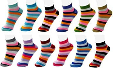 Chartbusters Women's Striped Ankle Length Socks pack of 12