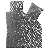 aqua-textil Bettwäsche 200x220 Baumwolle 3tlg Set Kopfkissen Bettbezug Reißverschluss Atmungsaktive Bett Garnitur 80x80 Kissen Bezug Öko-Tex Punkte Dunkel Grau Anthrazit Weiß 1000654 Trend Tiara