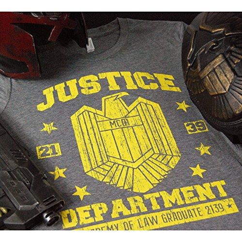 Herren Dredd Justice Abteilung T Shirt Heather Grau Grau