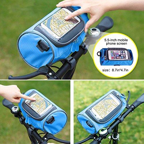 Bike Taschen, Zylindrische tragbar Front Lenkertasche mit Transparent Tasche. Blau