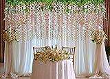 YQing Kunstblumen, künstliche Glyzinien, Heimdekoration, jeder Strang ist 110 cm lang, aus Seide, für Hochzeiten, zu Hause, Garten, Party, 12 Stück (weiß) - 2