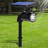 Lampe Solaire Extérieur Ultra Puissante avec Détecteur de Mouvement,Spot Solaire 8 LED 800 Lumens,IP65 Etanche,4 Modes Eclair