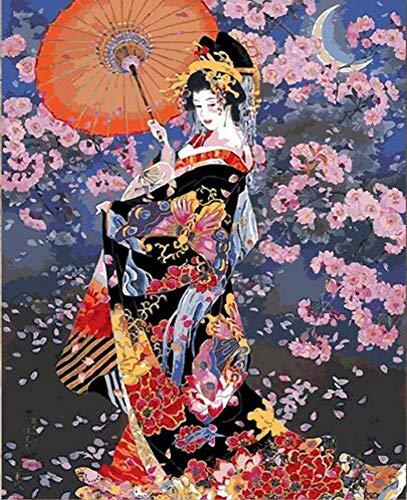 Kostüm Van Gogh Kinder - WYTCY Japanische Kostüm Kimono Schönheit Malen Nach Zahlen Leinwand Malerei Handgemalte Digitale Japan Wandkunst Bild Für Wohnkultur