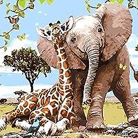 Queta Giraffe Elefant Ölgemälde Rahmenlos digital Ölgemälde Home Room Decor 40 x 50 cm