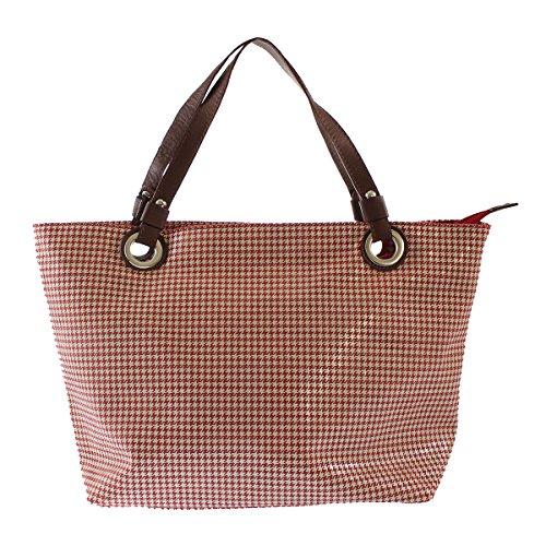 CTM Frau Handtasche, Einkaufstasche mit geometrischen Mustern, italienischem Leder Made in Italy 48x31x15 Cm Rote