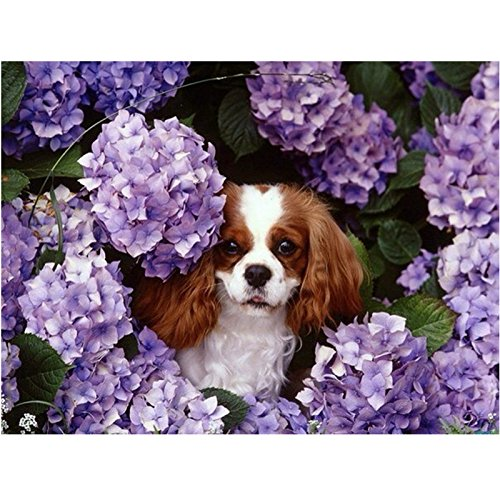 WH-PORP tapete Diy Diamond Painting 3D Cross Stitch Kits Full Drill Ribbon Pasted Embroidery Pattern Floral Dog-128cmX100cm