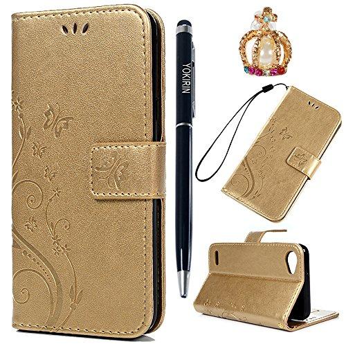 LG Q6 Hülle Case Tasche YOKIRIN Schutzhülle für LG Q6 Lederhülle Flipcase Handyschale Schmetterling Blume PU Leder Schale Handyhülle Klapphülle Etui in Standfunktion Kredit Kartenfächer Magnetverschluss Gold