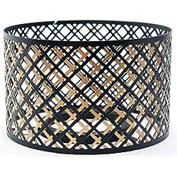 Abat-jour officiel Yankee Candle noir et cuivré - Accessoire de décoration pour grand pot -Bougie non incluse