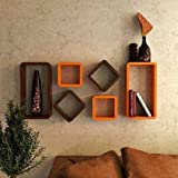 Dime Store Cube Shape Wall Mount Wall Shelf for Home Decor Wall Decor and Living Room (Set of Six, Orange and Brown)