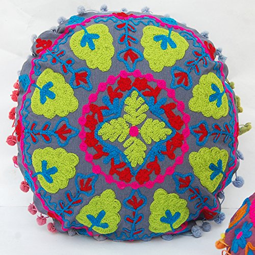 CRAFTOFPINKCITY 2 Stück bestickt Suzani Kissenhülle Baumwolle osmanischen handgefertigt rund Werfen Kissen Fall Indian Pouf 40,6 cm A4 -