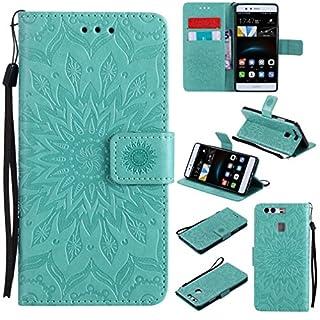 LMAZWUFULM Hülle für Huawei P9 lite/VNS-L31 5,2 Zoll PU Leder Magnet Brieftasche Lederhülle Sonnenblume Prägung Design Stent-Funktion Ledertasche Flip Cover Grün