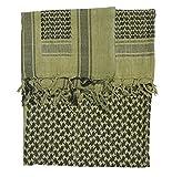 Erwachsene Unisex Volle Größe Shemag Schal Arabischer Kopf Schal Kafiyah - 5 Farben - Größe: 110cmx150cm - Hohe Qualität Militär Spec - 100% Baumwolle - Olive/Schwarz, 110cmx150cm