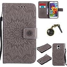 PU Coque Cuir Galaxy S5 i9600, Fermeture Aimantée de Motif Imprimé Étui Housse en Cuir Ultra-mince Avec La Fonction Stand pour Samsung Galaxy S5 i9600 Étui +Bouchons de poussière (1FF)