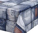 Premium Wachstuch LFGB Tischdecke für Garten und Küche, abwischbar, geprägt Jeans Live, Größe wählbar (160 x 140 cm)