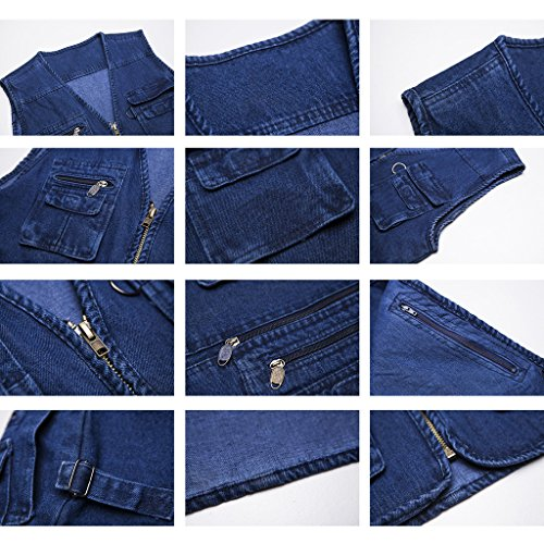 Highdas Hommes Denim Vest Photographe Multi Pocket Denim Veste Manches Bleu-2
