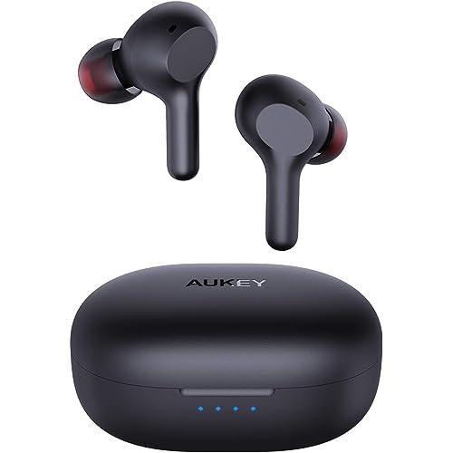 AUKEY Cuffie Bluetooth 5 Bassi Potenziati, Auricolari Senza Fili con Ricarica Rapida USB-C, IPX5 Impermeabili, Riproduzione di 25 Ore Touch Control Microfoni Integrati