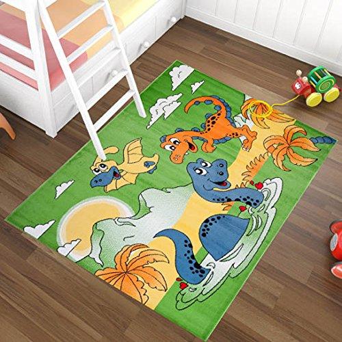 Alfombra Infantil Moderna – Color Verde Diseño Dinosaurios En Agua – Suave – Fácil De Limpiar – Mejor Calidad – Diferentes Dimensiones S-XXXL 200 x 290 cm