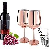D L D Zweiteiliges Weinglas Kupfer Rotweinglas Sektglas Edelstahl gebürstet Sektglas Edelstahl Weinglas passend für jede Vera