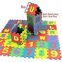 FastDirect Alfombra Puzzle 36 Piezas de EVA Mini Tamaño 5 x 5cm Puzzle de Letras Números Juego de Puzzles Desmontable