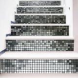 LIU-Kreativ Mosaik DIY Renoviert Treppenhaus Aufkleber Abnehmbar Wasserdicht Treppen Wandmalerei 100*18cm*6pcs Silber , B