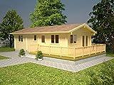 Wochenendhaus Prunus P10 inkl. Fußboden, naturbelassen - 70 mm Blockbohlenhaus, Grundfläche: 46,10 m² mit Terrasse, Satteldach