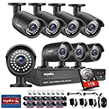 SANNCE 8CH 1080P HD Surveillance System, CCTV DVR with One 1TB Surveillance HDD and 8x 1920*1080P 2.0MP Weatherproof Bullet Camera, Home Security System HD Over Analog/BNC, Smart Email Alert, Peer to Peer Technology
