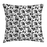 K0k2t0 Movie Decor Throw Pillow Cushion Cover by, Vintage Artful Film Cinema Icons Motion Lighting Camera Action Record Graphic, Decorative Square Accent Pillow Case, 18 X 18 Inches, Black White