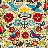 beiger Tauben und Blumen Laminat Stoff von Alexander Henry