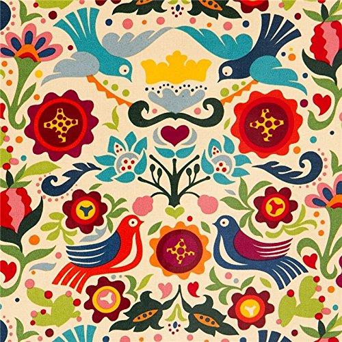Tela laminado beis palomas y flores de Alexander Henry