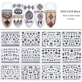 OYLXQ 12 Sheets Self Adhesive Feather Nail Art Stickers Decals Decoration for Fingernails