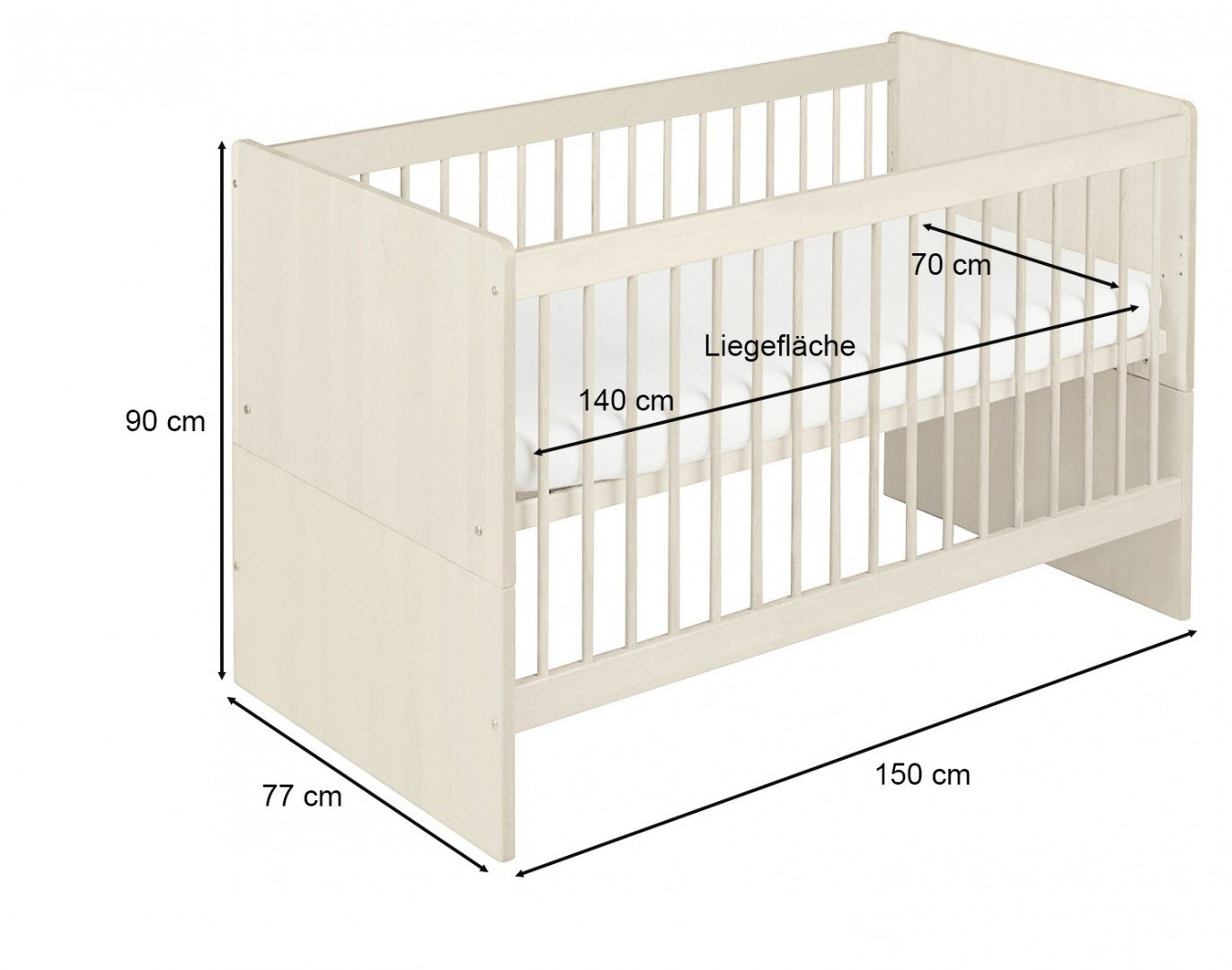 BioKinder 22600 Lina babybed cot 70x140 cm. Biological massive wood Bio-Kinder Babybed cot Lina Sustainable solid wood. Biological finish. Individually handcrafted by professional carpenters Surface W 70 cm, L 140 cm. Outward measurement L 150 cm, W 77 cm, H 90 cm. 4