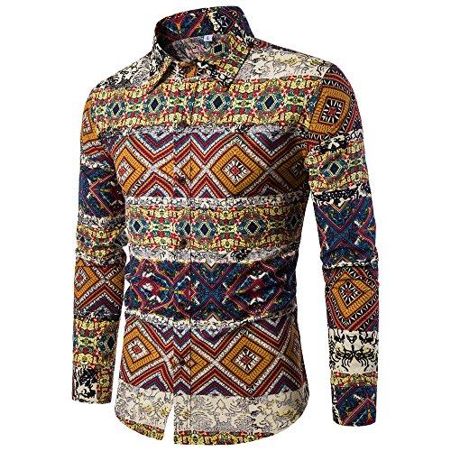 UJUNAOR Oktoberfest Herren Herrenhemd Mode Männer Gedruckt Langarmhemd Shirt Herbst(Multicolor,CN M) (Männer Ideen Coole Halloween-kostüm)