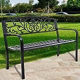 COSTWAY Gartenbank Stizbank Parkbank Bank Gartenmöbel Gusseisen Metall 127 x 60 x 85 cm