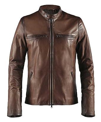 Soul Revolver Cafe Racer Mens Leather Jacket: Amazon.co.uk: Clothing