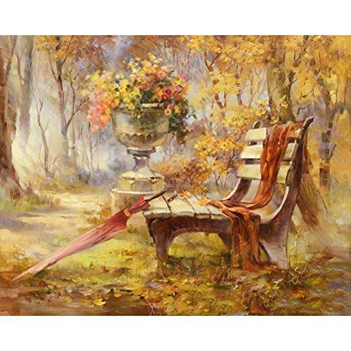 Sans Cadre Chaise Park Automne Paysage DIY Peinture par numéro Art mural Photo, Toile, Automne, Unframed