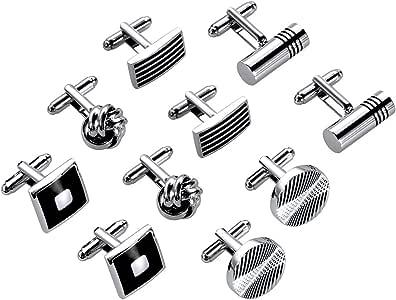 Lictin 5 Paia Gemelli da Polso Uomo - Acciaio inossidabile Gemelli per Uomo nero argento per Business Regalo di Nozze(Rotondo, Quadrato, Rettangolo, Cilindrico, Sferico)