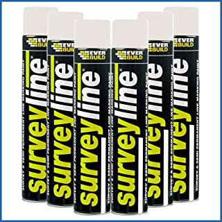 6X Everbuild Survey Spray Line Marker Paint White - 700ml