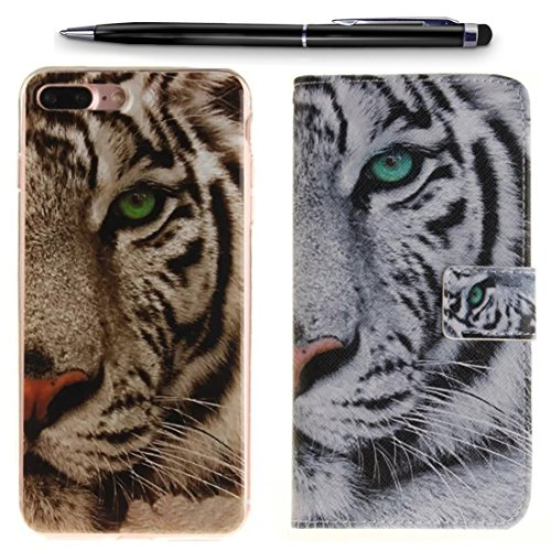 Lotuslnn Coque iPhone 7 Cuir Etui, Apple iPhone 7 / 7G Silicone Transparent Coque Hosse [2 Phone Cases+Stylus Stift Included]-Skull White tigher Blanc