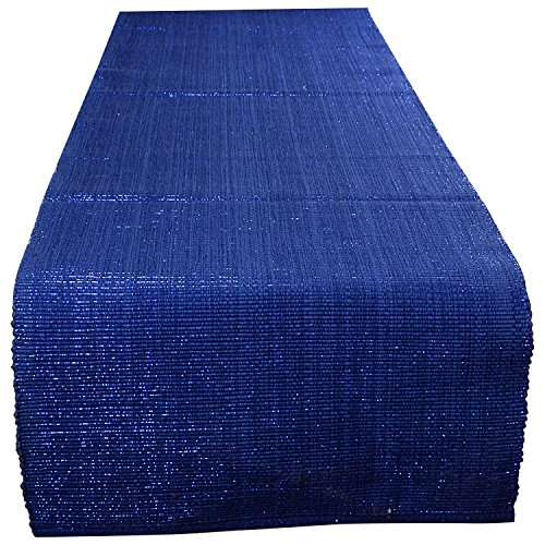 Swadeshi Store Table Runner Woven With Blue Lurex 100% Handwoven Cotton - Blue (13