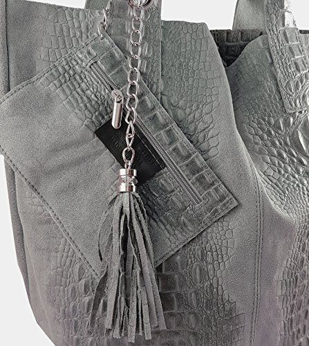 FreyFashion - Made in Italy, Borsa tote donna Grau Kroko