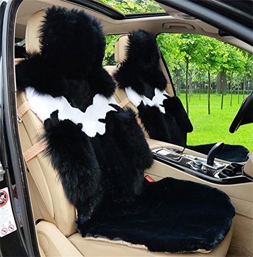Ruirui Set universale completo di copri sedile auto Deluxe pecore pelle lana , black