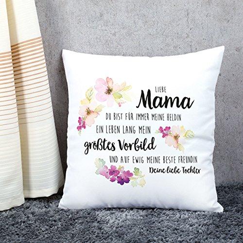 Herz & Heim® Muttertags-Kissen mit Gratis Aufdruck – Liebe Mama Mein größtes Vorbild – Super Muttertagsgeschenke