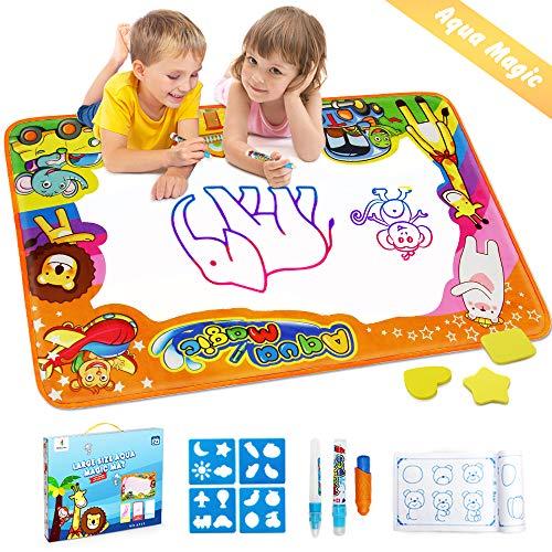 EpochAir Kids Baby Toddler Wasser Zeichnen Matte Toy mit 2 Stiftes, 86 x 57cm, 1 Bürste und Ziehformen Aqua Drawing Painting Mat mit 6 Colors Spielzeug für Kinder Mädchen Jungen Educational Gift (Zum Spielzeug Geburtstag Ersten)