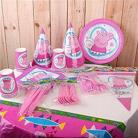 MH-RITA Niedliche Rosa Einmalgeschirr setzt Tischdecke Papier Teller Becher Servietten Flagge Kids Boy Birthday Party Dekoration