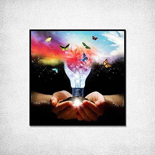 Hifuture buntes Schmetterlingsmaler-Set, 5D-Leinwand, runde Stickerei, Kreuzstich, Heimdekoration, Zubehör, Wandkunst, 30 x 30 cm