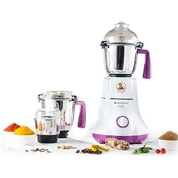 Wonderchef Victor Premium 750-Watt Mixer Grinder with 3 Jars (White/Purple)