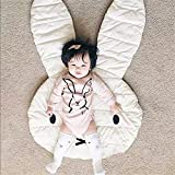 ELLANM Kindermatten Baby Matten Baby Hasen Spielmatten, Waschbar Krabbeldecke, 100% Weiche Baumwolle, Länge 106Cm